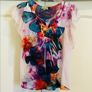Beautiful Butterfly top with sheer cap sleeves